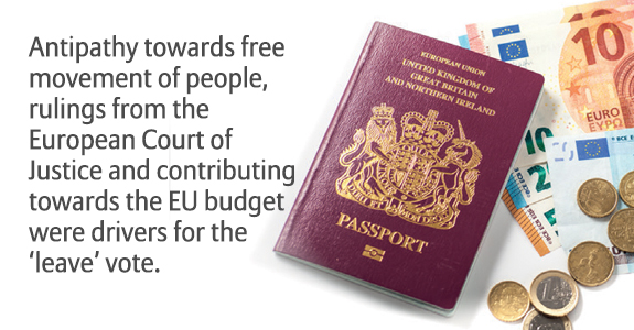 Antipathy towards free movement of people, rulings from the European Court of Justice and contributing towards the EU budget were drivers for the 'leave' vote.